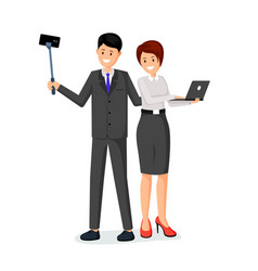 office workers taking photo vector image