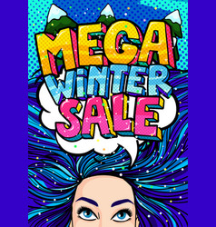 Open mouth and mega winter sale message in pop art vector