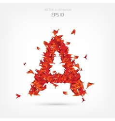 Origami paper birds alphabet letter vector