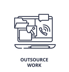 outsource work line icon concept outsource work vector image