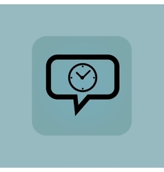 Pale blue clock message icon vector
