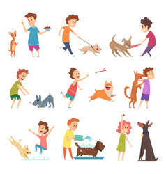 pets and kids happy little puppy dogs and their vector image