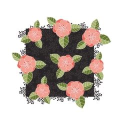 Pink roses on a dark square vector image