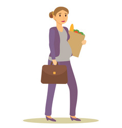 Pregnant businesswoman returning home from shop vector