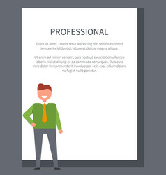 professional poster with businessman in sweater vector image