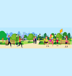 Public park people relax sitting wooden bench vector