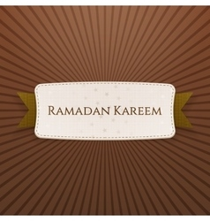 Ramadan Kareem greeting Tag with Text vector image