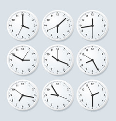Realistic detailed 3d clock set with different vector