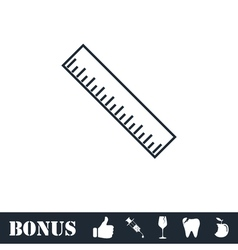 Ruler icon flat vector