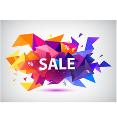 sale faceted 3d banner poster vector image