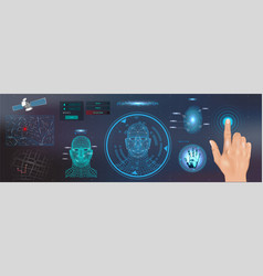 scanning identification system in hud style vector image
