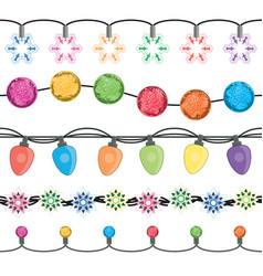 seamless strings christmas light garland lamps vector image
