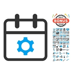 Service Day Flat Icon with 2017 Year Bonus vector