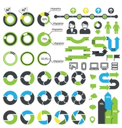 set infographic elements icons and statistics vector image