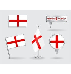 Set of English pin icon and map pointer flags vector image