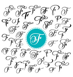 set of hand drawn calligraphy letter f vector image