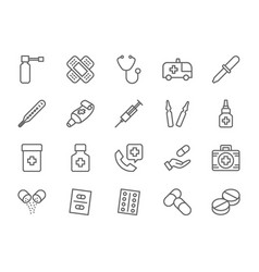 set of pharmacy and medications line icons vector image