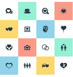 set of simple wedding icons vector image