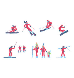 Set of skiers and snowboarder vector