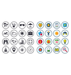 Set of travel and cruise icons vector