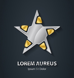 Silver and Gold star logo Award 3d icon Metallic vector image