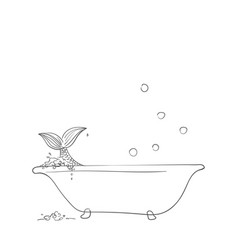 Sketch mermaid in bathtub hand drawn vector