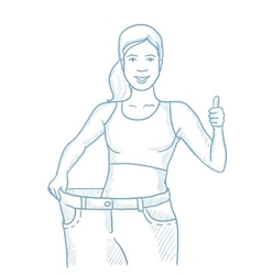 Slim woman in pants showing results of her diet vector image