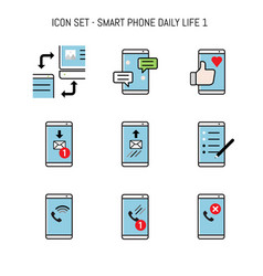 Smartphone mobile icon collection set with daily vector
