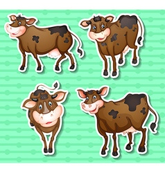 Stickers of cows on green background vector image