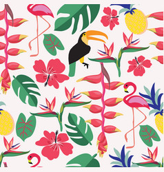 summer background with tropical plants and birds vector image
