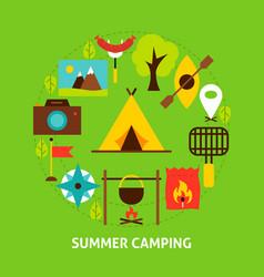 summer camping postcard vector image