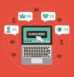 Suscribe digital marketing views like comment vector