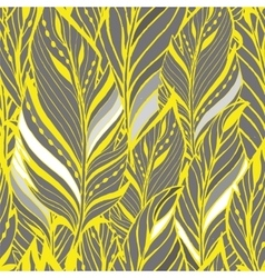 Texture with feathers in yellow and gray vector image