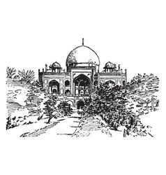 Tomb of sultan humayun vintage vector