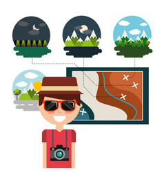 traveler man with map destination vacations vector image