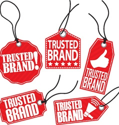 Trusted brand red tag set vector image