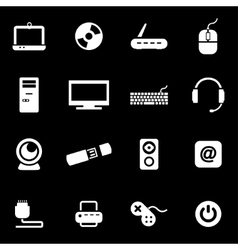 white computer icon set vector image