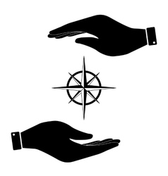 Wind rose in hand icon vector image