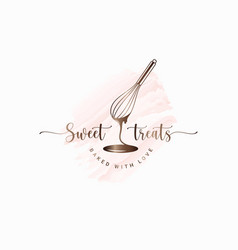 wire whisk and chocolate for bakery cooking vector image