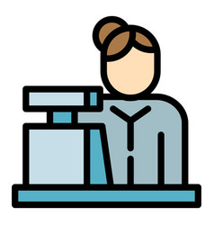 Woman cashier icon outline style vector