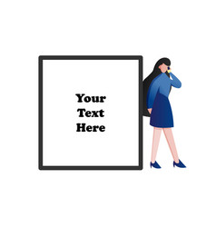Woman using her smart phone with blank space for vector