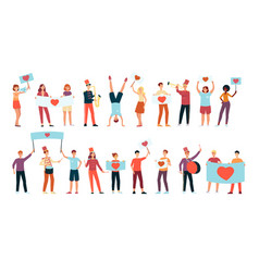 young happy people holding placards and banners vector image