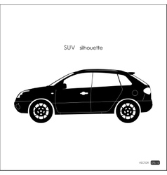 Black SUV silhouette on white background vector image vector image