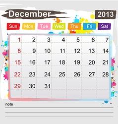 Calendar December 2013 vector image