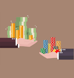 exchange of cash money and casino chips vector image