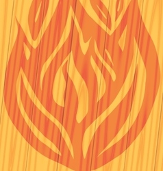fire on wooden background vector image