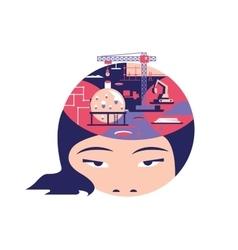 Idea in head flat design vector image