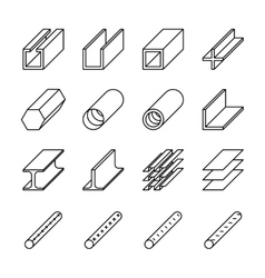 Rolled metal product icons pictograms vector image