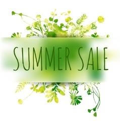 Summer sale watercolor background with leaves and vector image vector image