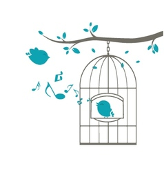 Birds singing on the cage vector image vector image